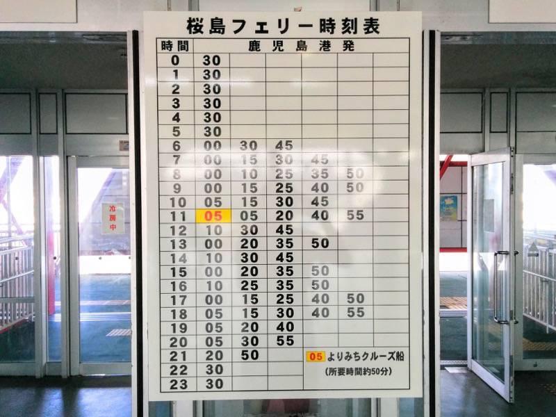 桜島フェリー 時刻表